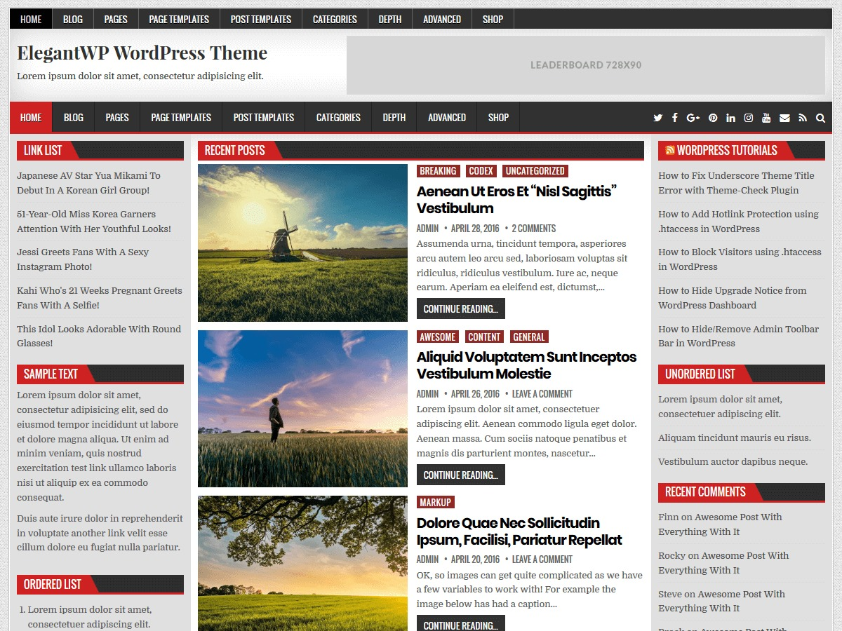 ElegantWP WordPress blog template