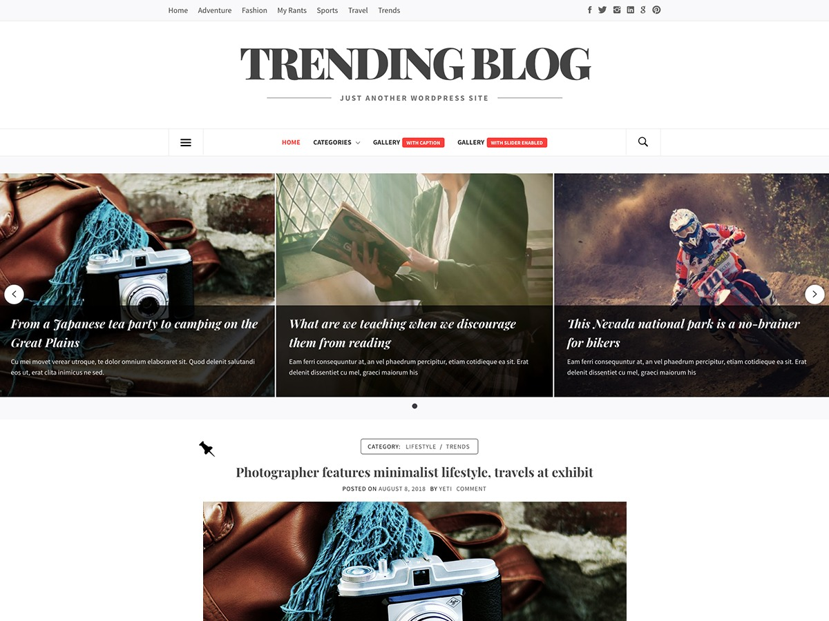 Trending Blog WordPress blog theme