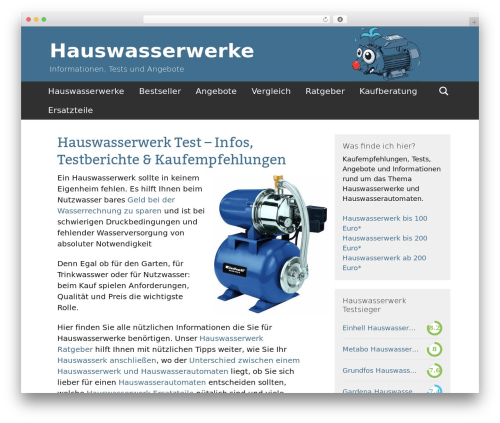 Twenty Thirteen Child WordPress page template - hauswasserwerk-tests.com