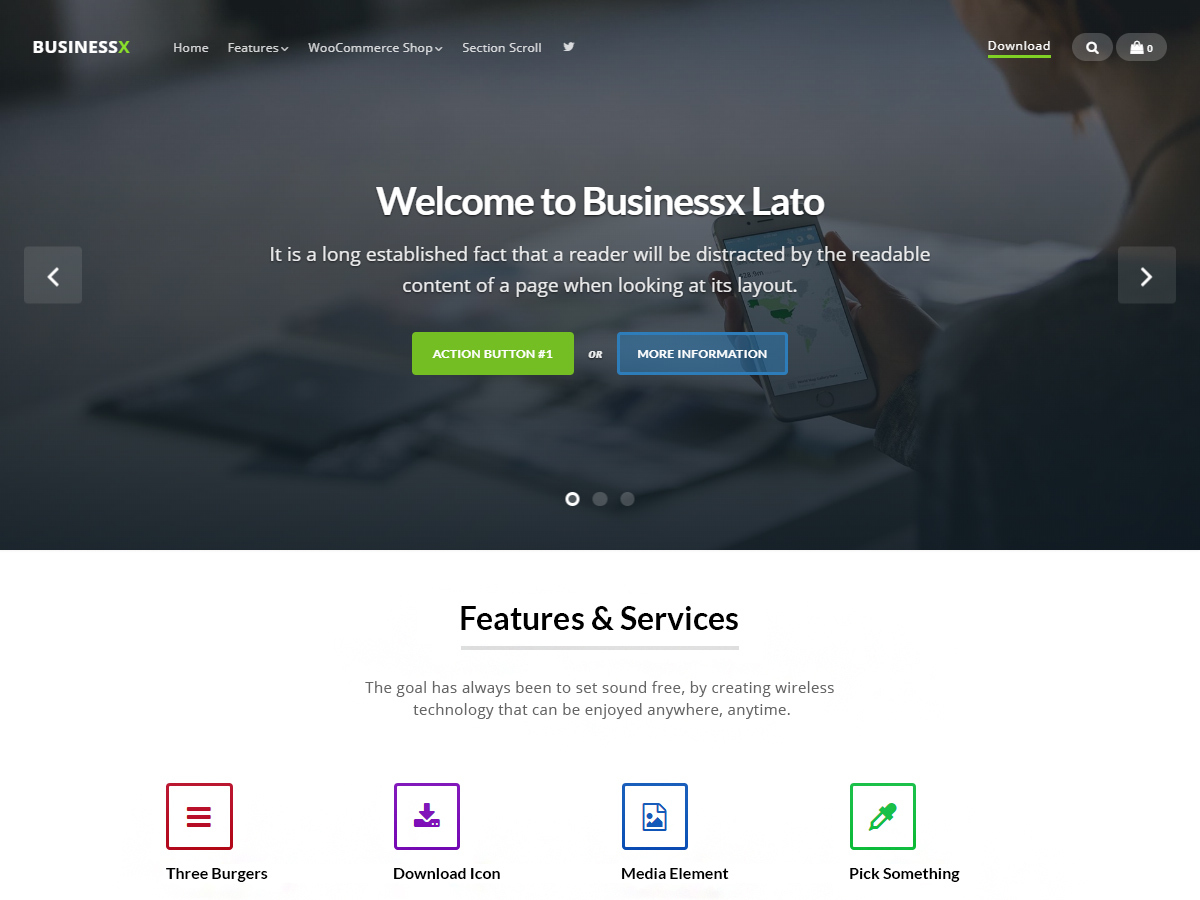 Businessx Lato WordPress portfolio template