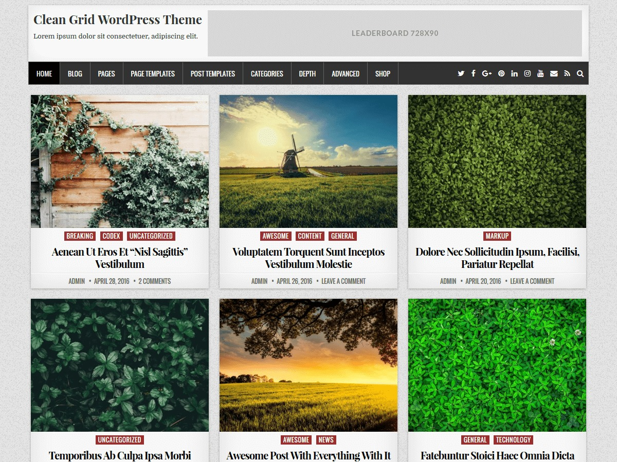 Clean Grid newspaper WordPress theme