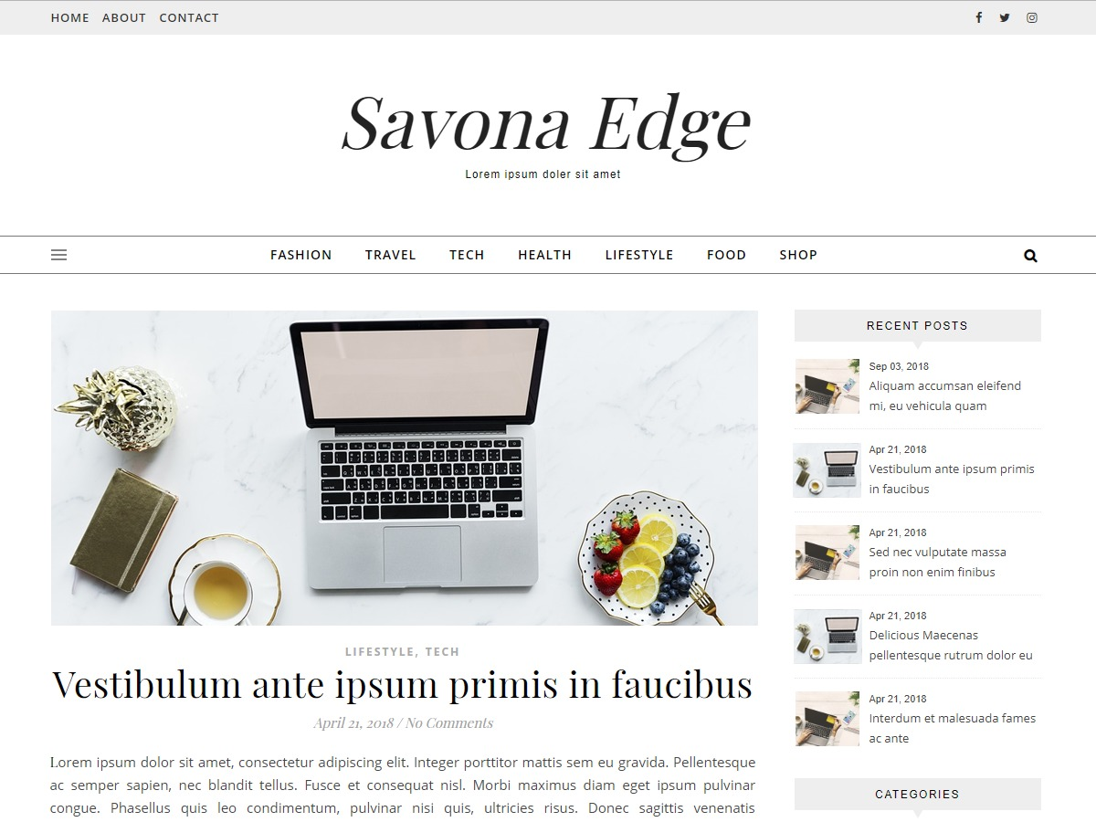 Savona Edge gym WordPress theme