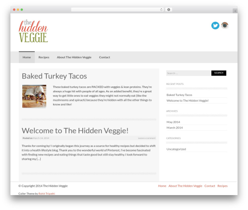 Coller free WordPress theme - thehiddenveggie.com