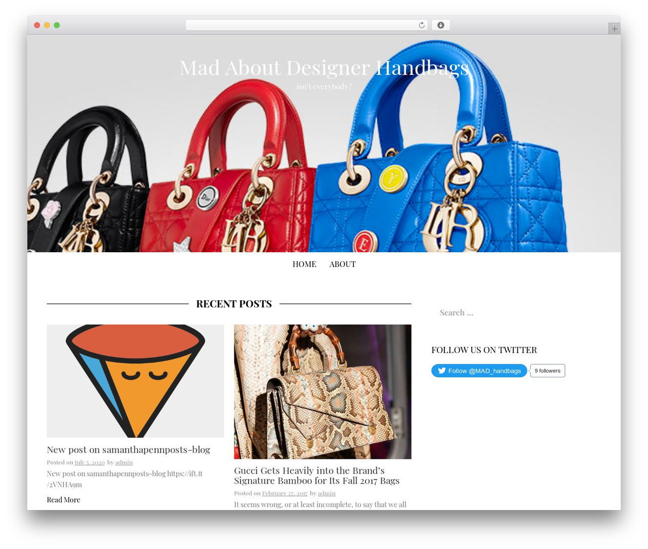 9e59c0e6e983 MadHat template WordPress free by InkHive - mad-about-designer-handbags.com