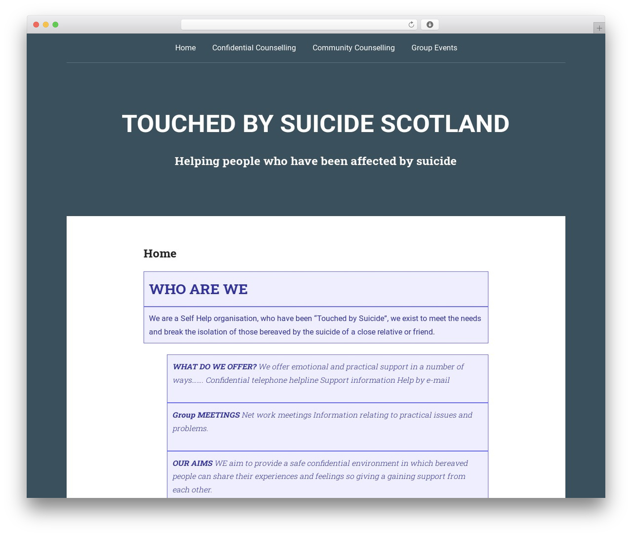 WordPress website template Padhang - touchedbysuicidescotland.org
