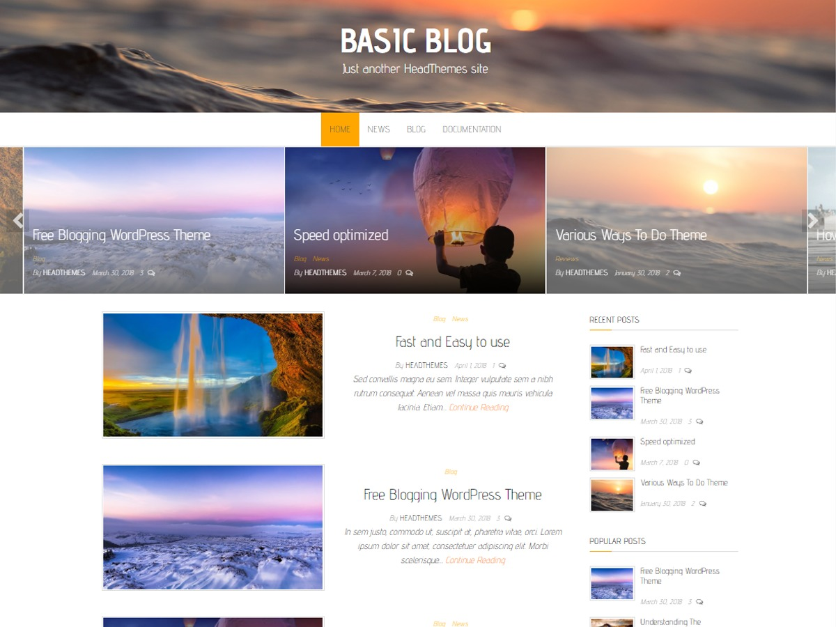 Basic Blog WordPress blog theme