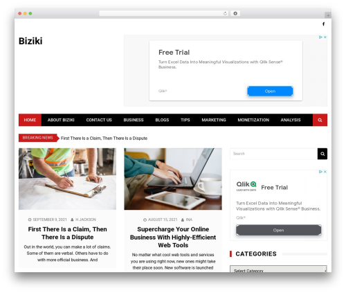 Kathmag WordPress website template - biziki.com