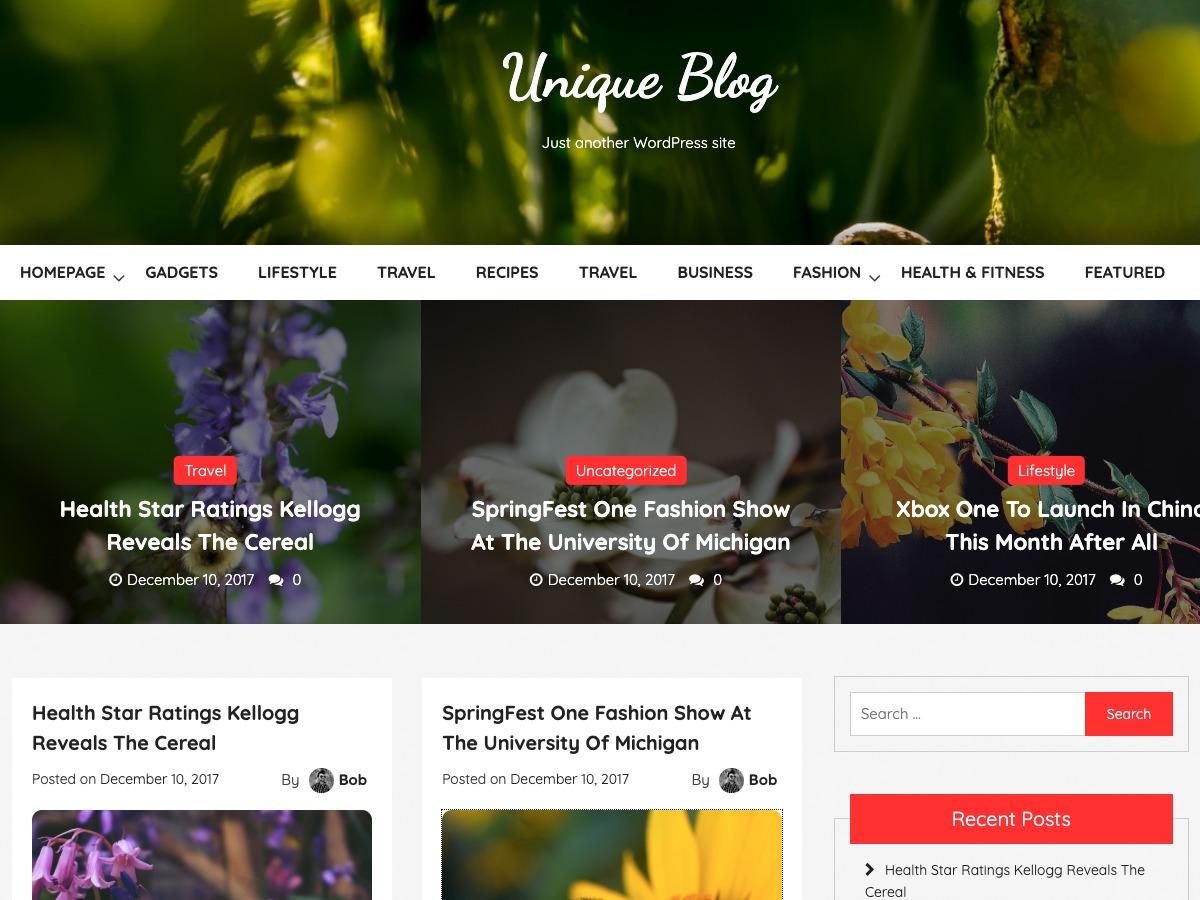 Unique Blog newspaper WordPress theme
