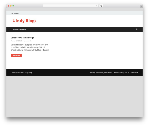 HitMag Pro WordPress blog template - blogs.uindy.edu