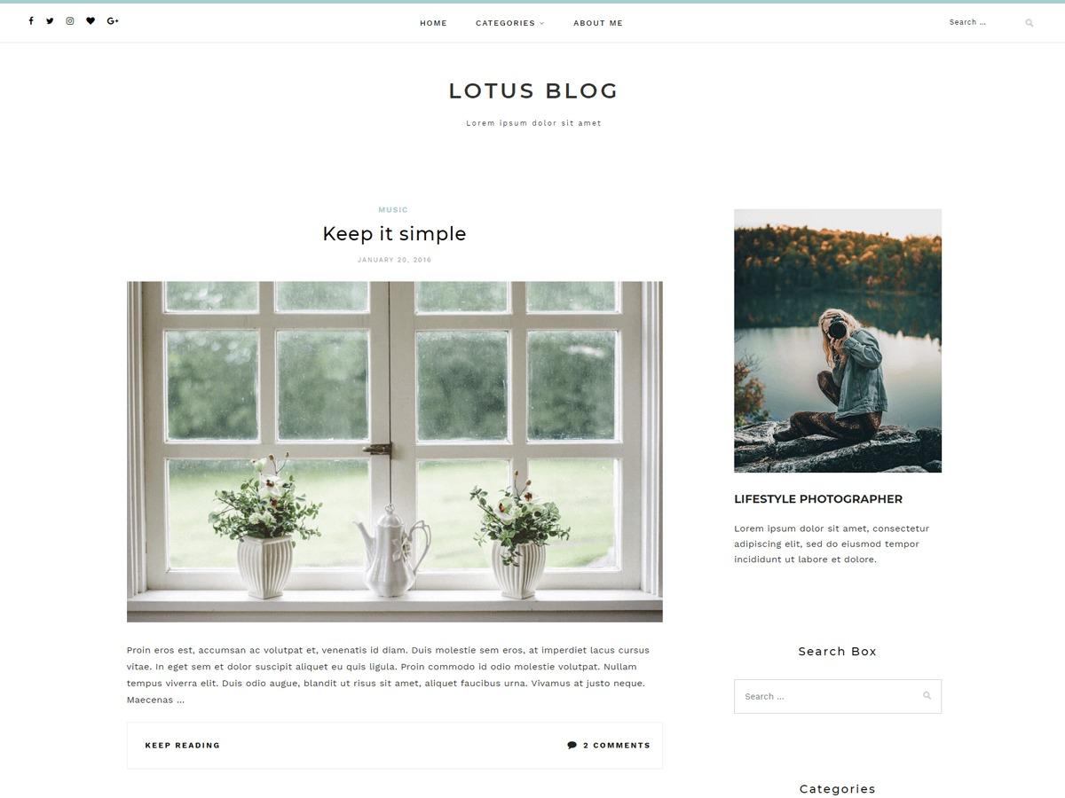 Lotuslite WordPress blog theme