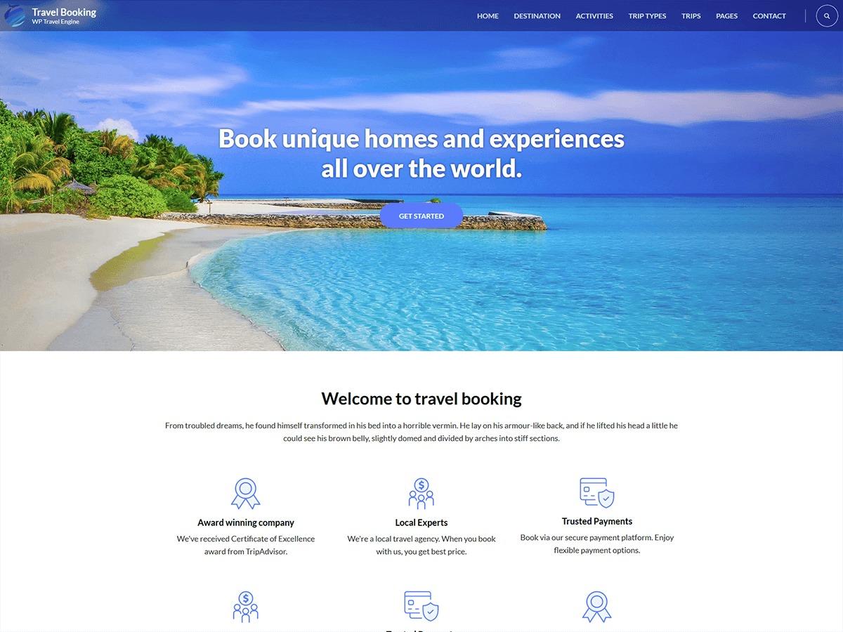Travel Booking WordPress hotel theme