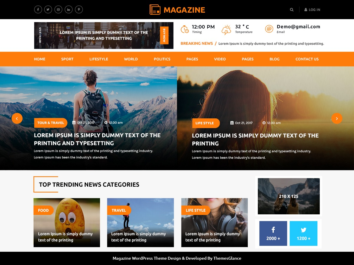 Multipurpose Magazine newspaper WordPress theme