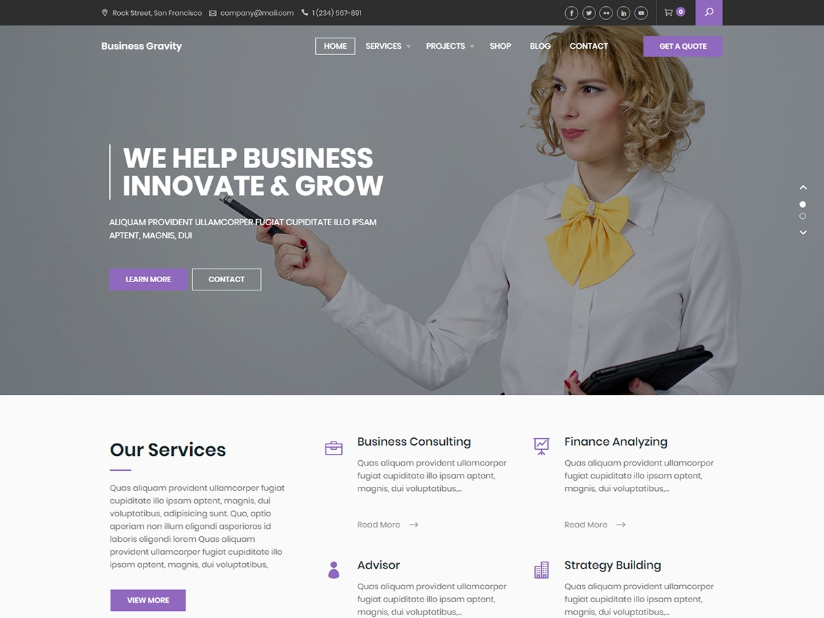 Business Gravity best WooCommerce theme