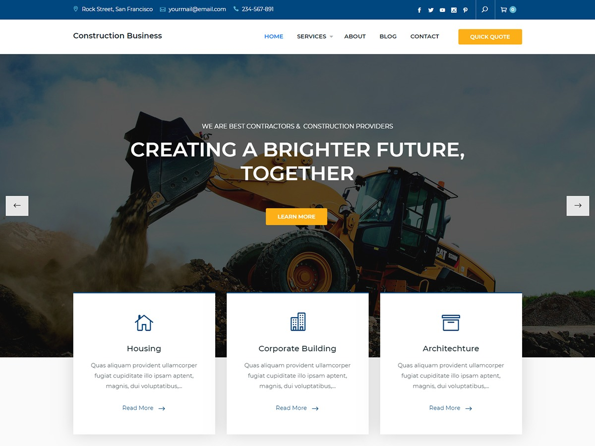 Construction Business WordPress store theme