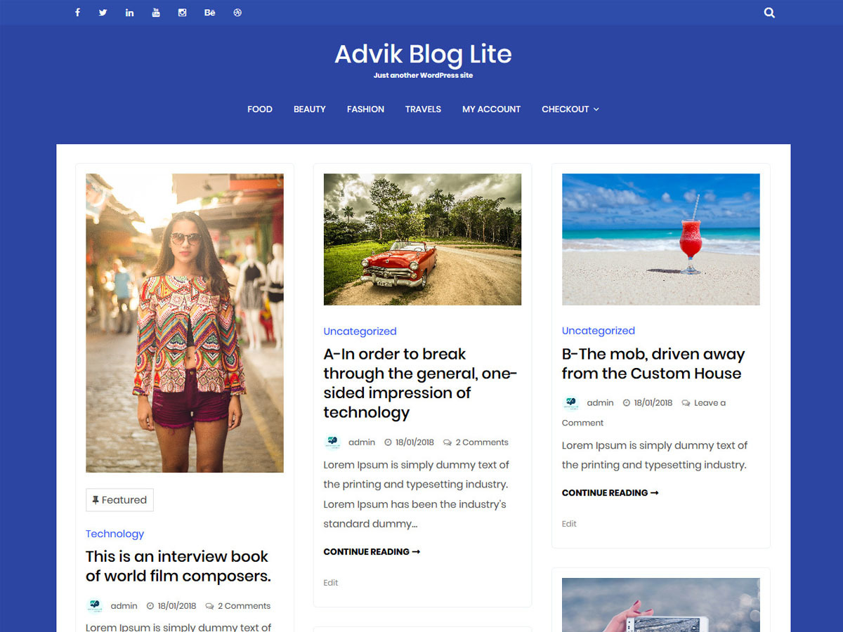 Advik Blog Lite WordPress blog theme