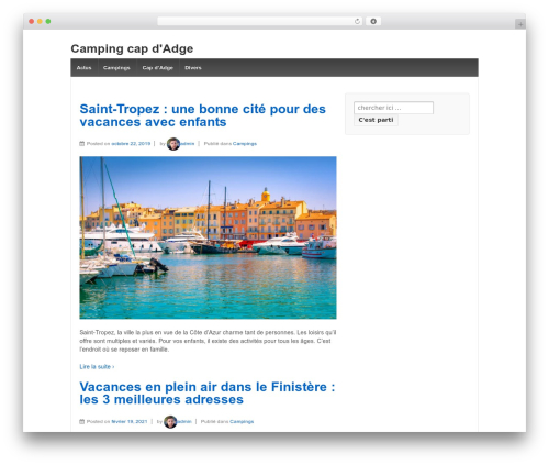 Best WordPress template Responsive - camping-cap-d-agde.com