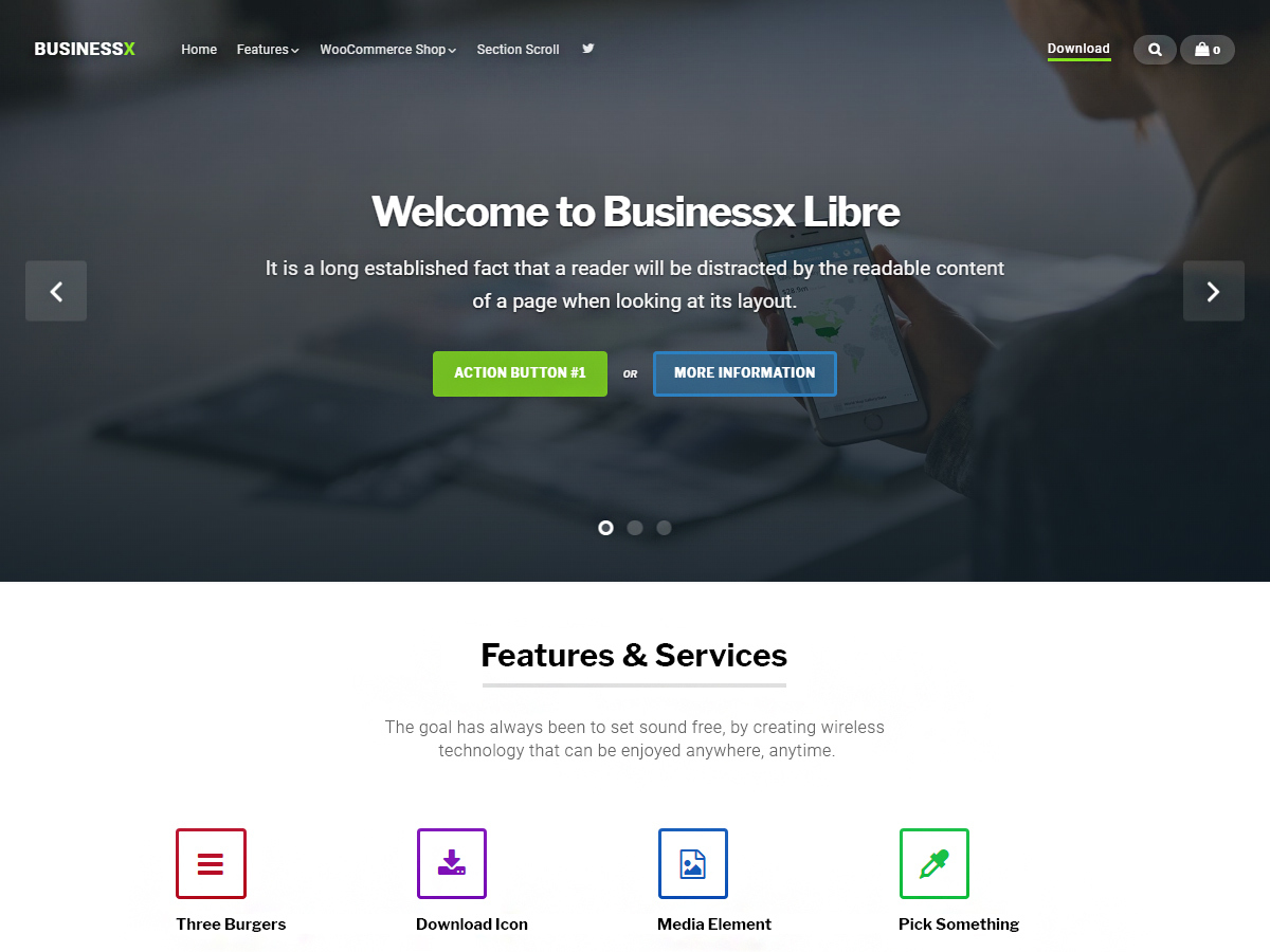 Businessx Libre WordPress shopping theme