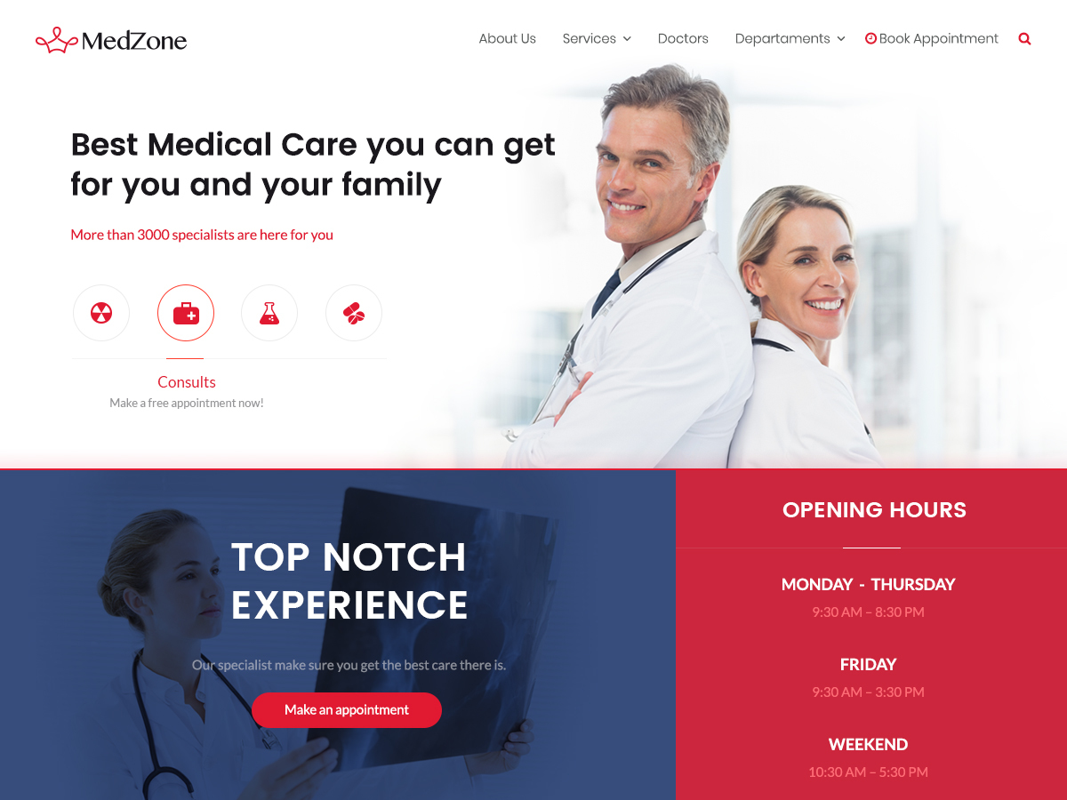 MedZone medical WordPress theme