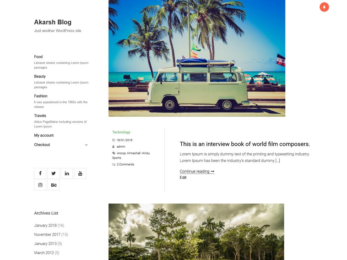 Akarsh Blog WordPress blog theme