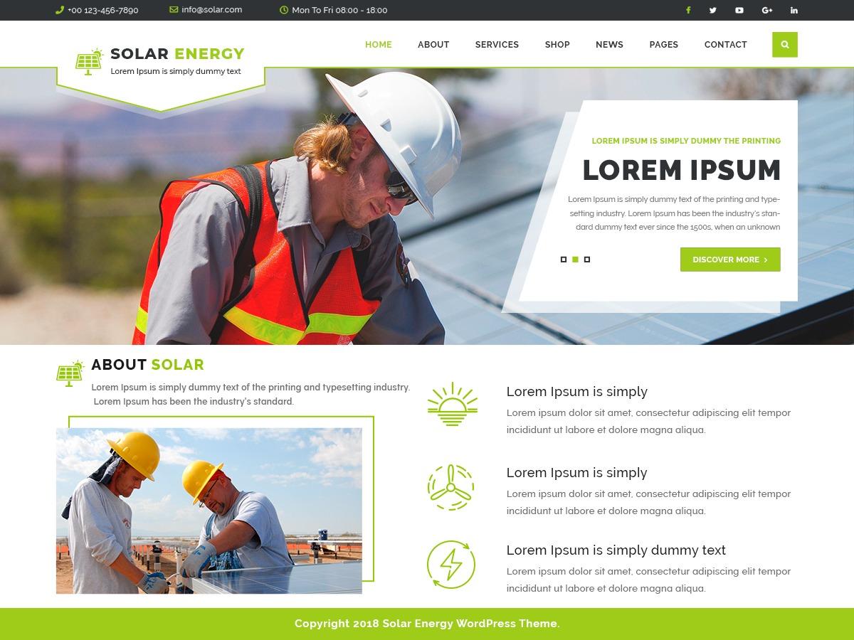 VW Solar Energy company WordPress theme