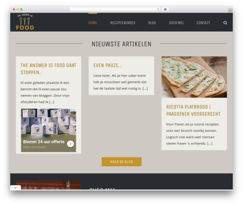 Avada food WordPress theme - theanswerisfood.com