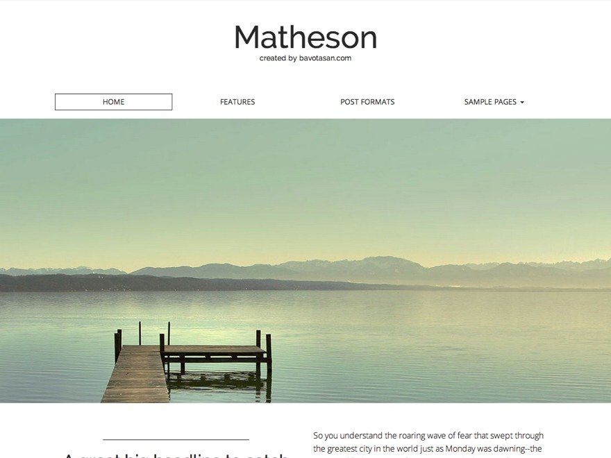 Matheson WordPress movie theme