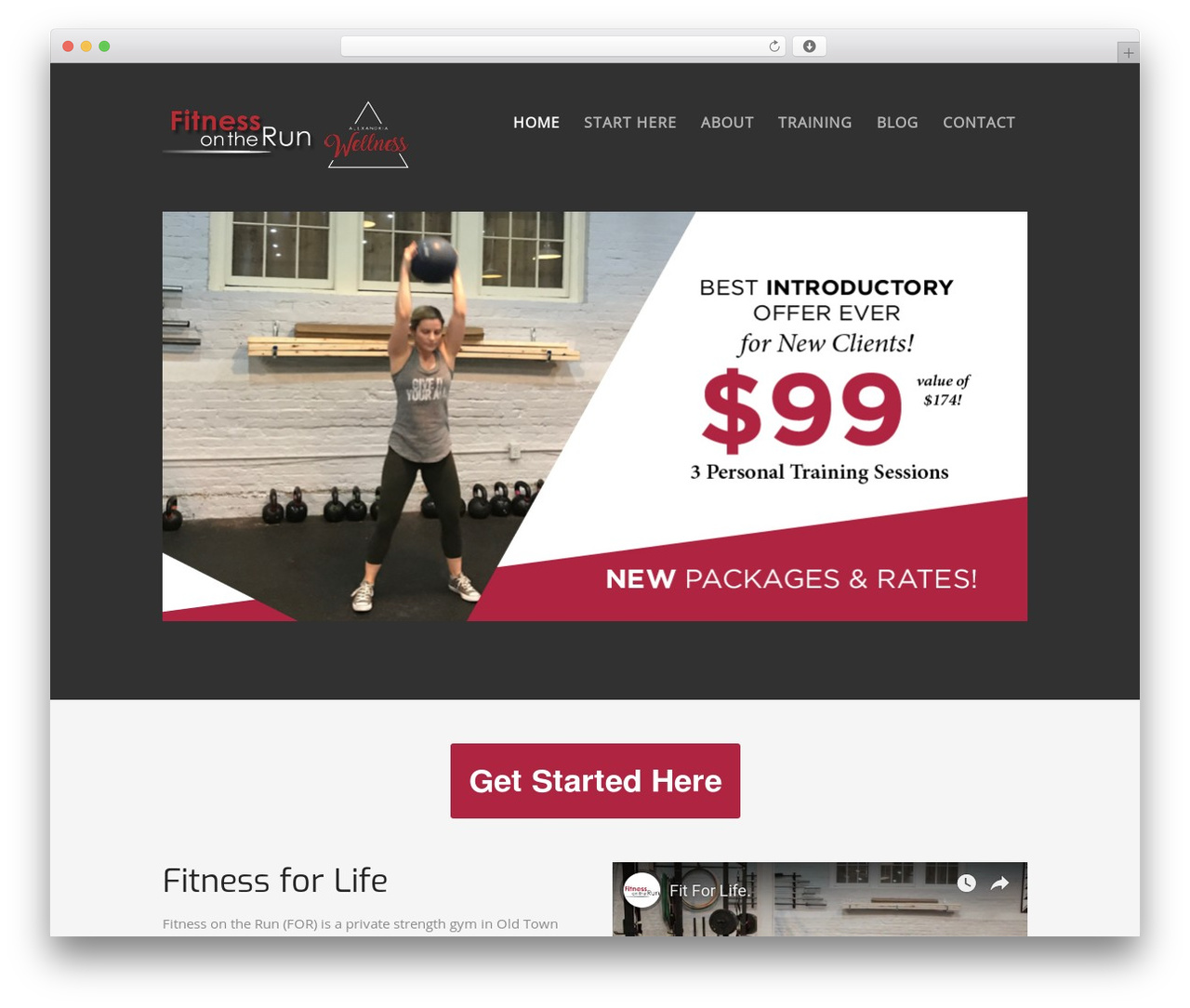 WordPress website template Workout - fitnessontherun.net