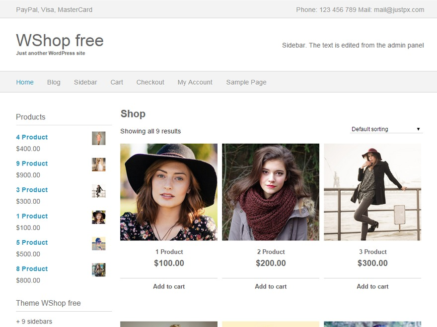 WShop WordPress store theme
