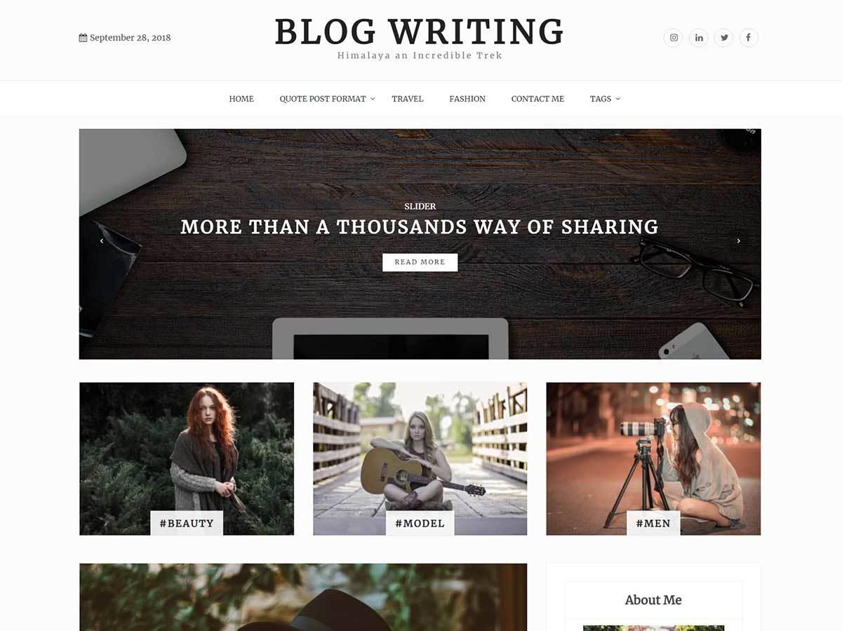 Blog Writing WordPress blog theme