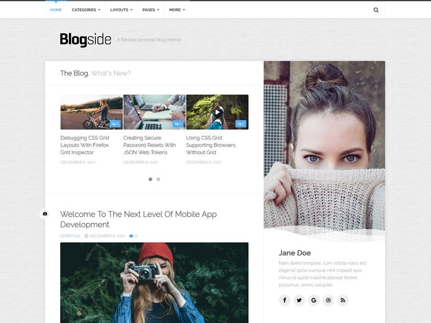 Blogside photography WordPress theme