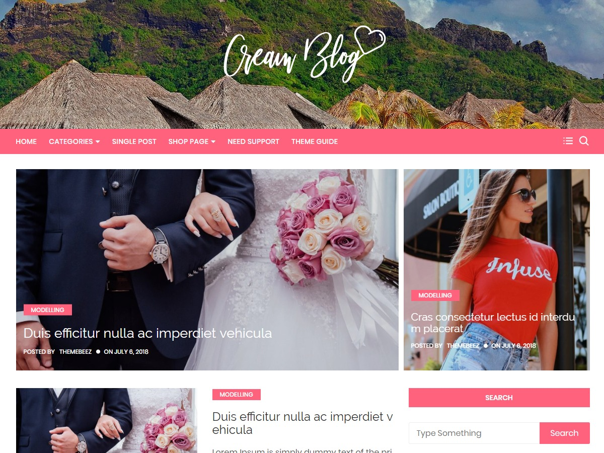 Cream Blog WordPress shopping theme
