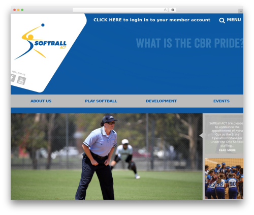 Elite WordPress template - act.softball.org.au