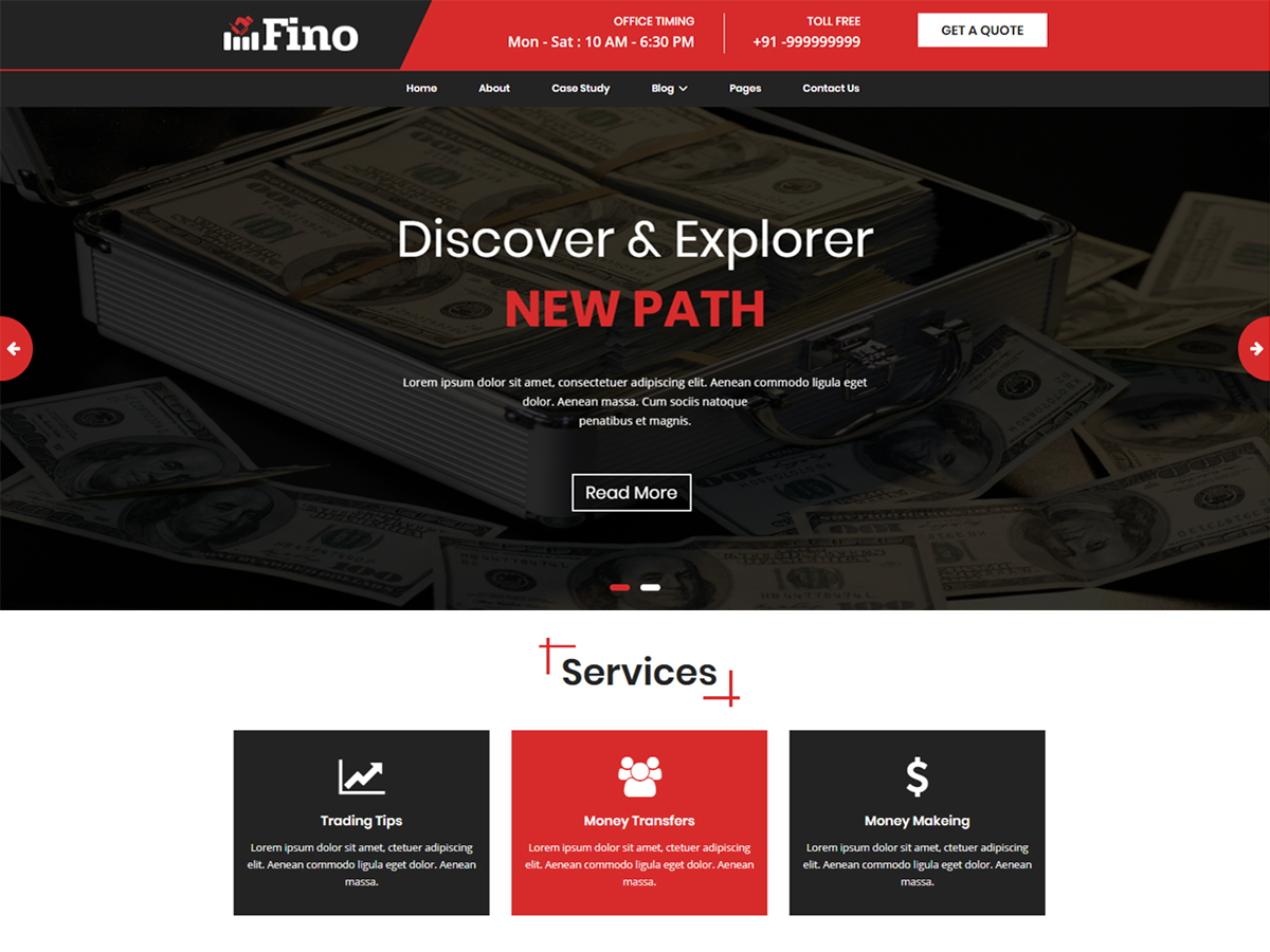 Fino WordPress page template