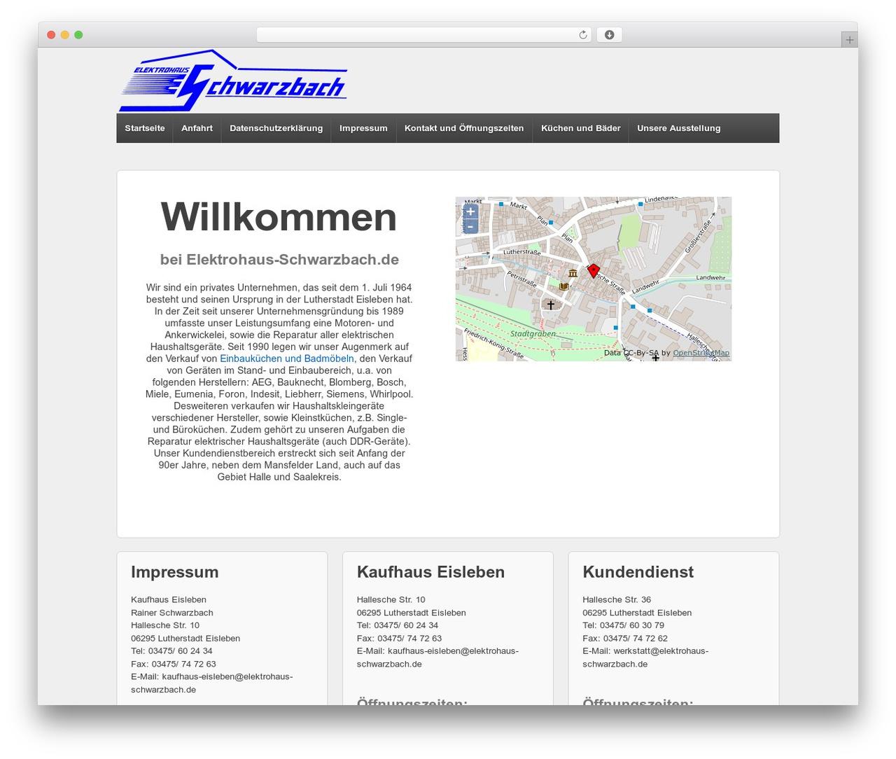 Responsive best free WordPress theme - elektrohaus-schwarzbach.de