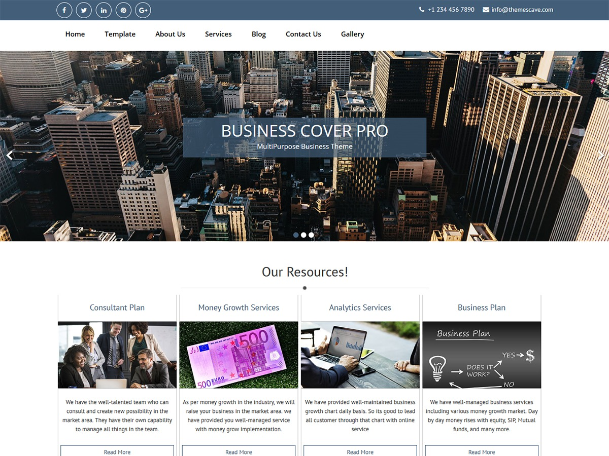 Business Cover Lite company WordPress theme