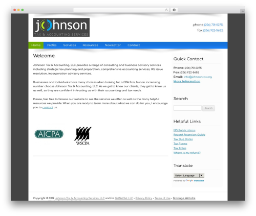Customized WordPress template for business - johnsontax.org