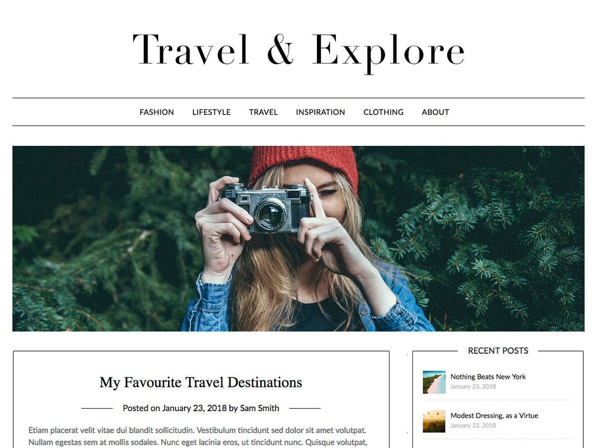 Travel Minimalist Blogger food WordPress theme