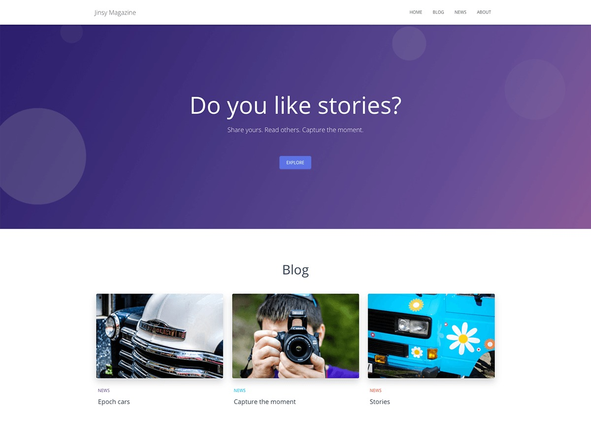 Jinsy Magazine business WordPress theme