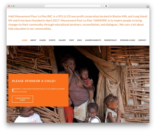 WordPress website template Charity WPL - mouvementpourlapaix.org
