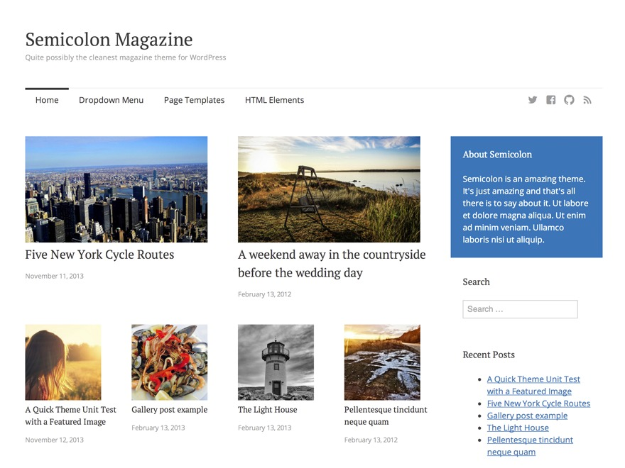 Semicolon newspaper WordPress theme
