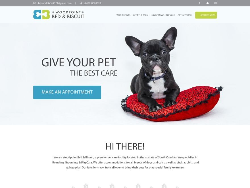 Best WordPress template Woodpoint Bed & Biscuit Child Theme