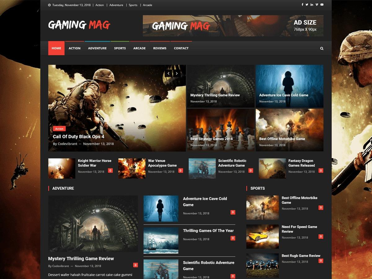 Gaming Mag WordPress news template