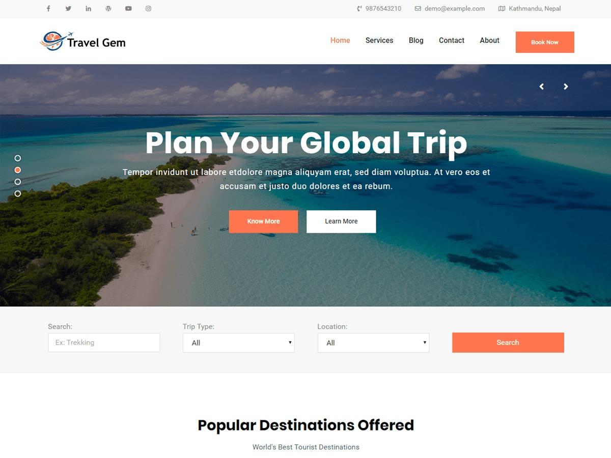 Travel Gem WordPress travel theme