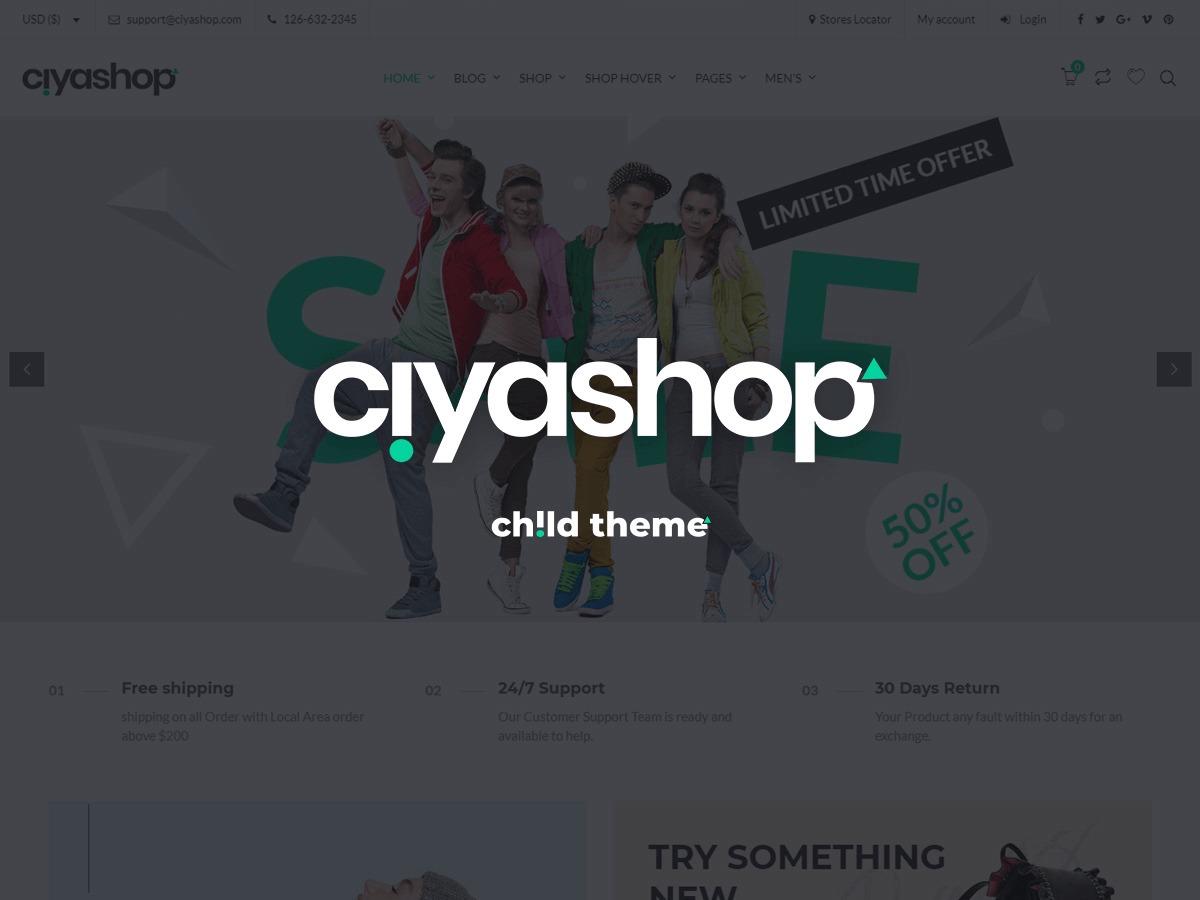 CiyaShop Child WordPress ecommerce theme