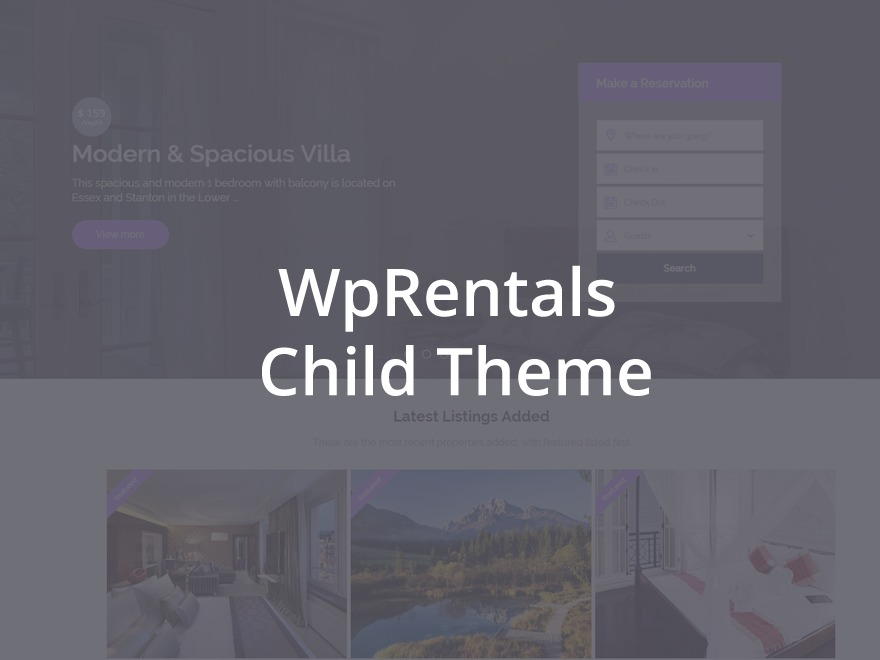 Best WordPress theme WpRentals Child theme
