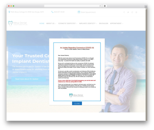 Dental Care WP theme - mesadentalsd.com