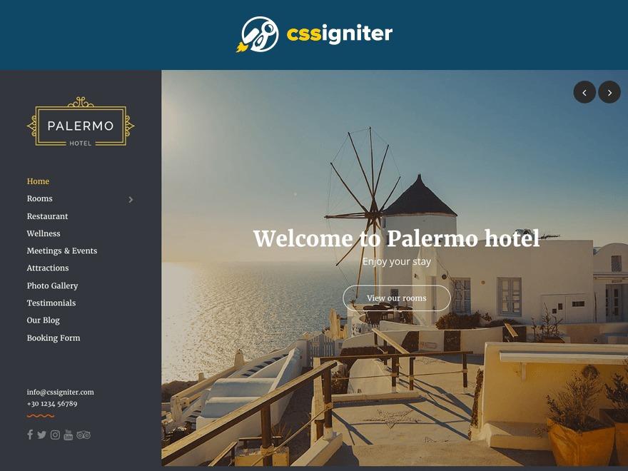 Palermo WordPress hotel theme