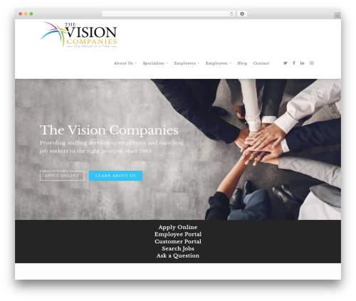 Salient business WordPress theme - myvisionco.com