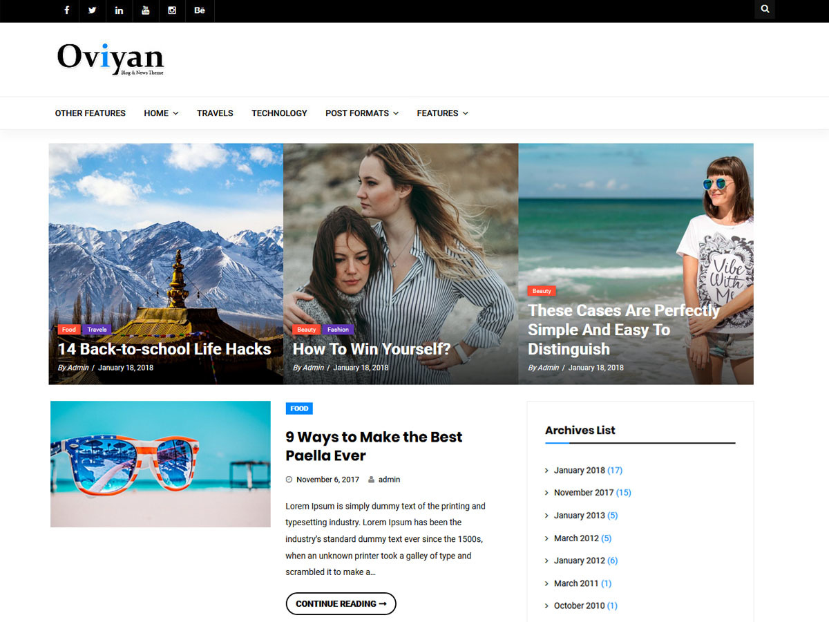 Oviyan Lite WordPress blog template