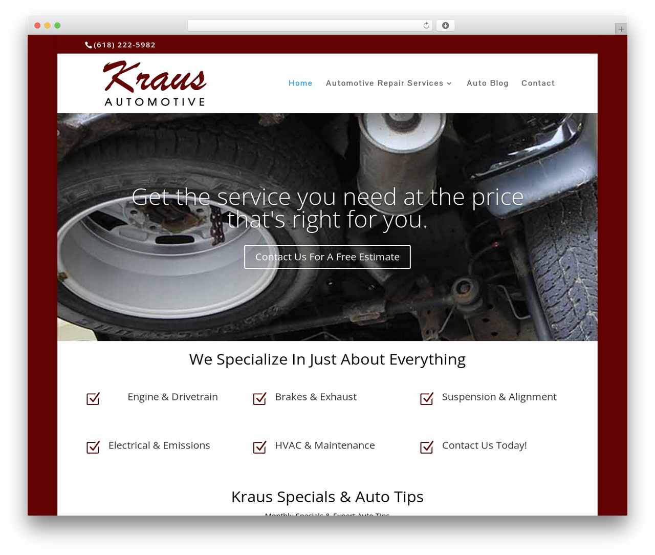 Divi automotive WordPress theme - krausautomotive.com